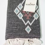 Пештемаль (пляжное полотенце, палантин) Ecocotton BUGRA органический хлопок серый+кремовый 90х180, фото, фотография