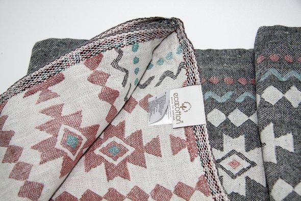Пештемаль (пляжное полотенце, палантин) Ecocotton BUGRA органический хлопок серый+кремовый 90*180, фото, фотография