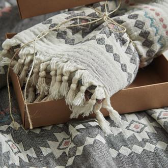 Пештемаль (пляжное полотенце, палантин) Ecocotton BUGRA органический хлопок серый+кремовый