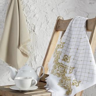 Набор кухонных полотенец 45*65 2 шт. Ecocotton ERVA органический хлопок белый+бежевый