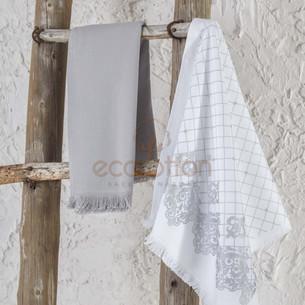 Набор кухонных полотенец 45х65 2 шт. Ecocotton ERVA органический хлопок белый+серый