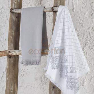 Набор кухонных полотенец 45*65 2 шт. Ecocotton ERVA органический хлопок белый+серый