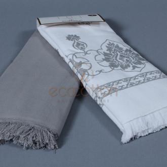 Набор кухонных полотенец 45*65 2 шт. Ecocotton MEYRA органический хлопок белый+серый