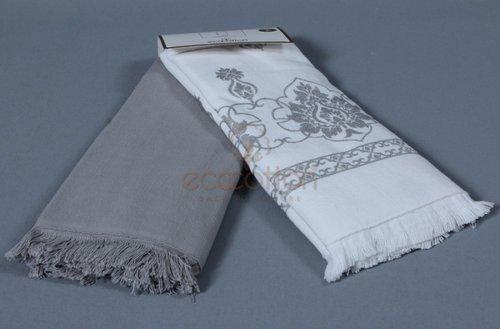 Набор кухонных полотенец 45х65 2 шт. Ecocotton MEYRA органический хлопок белый+серый, фото, фотография