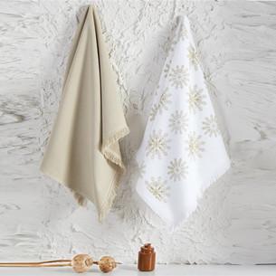 Набор кухонных полотенец 45х65 2 шт. Ecocotton SNOWY органический хлопок белый+бежевый