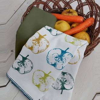 Набор кухонных полотенец 45*65(2) Ecocotton APPLEART органический хлопок (белый+зелёный)