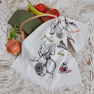Набор кухонных полотенец 45*65 2 шт. Ecocotton MIXVEGA органический хлопок белый+зелёный