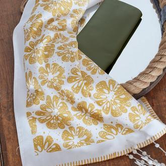 Набор кухонных полотенец 45*65 2 шт. Ecocotton NAVALINA органический хлопок белый+зелёный