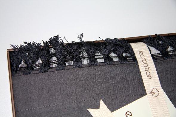 Постельное белье Ecocotton IZGI органический хлопковый сатин-жаккард делюкс антрацит евро-макси, фото, фотография