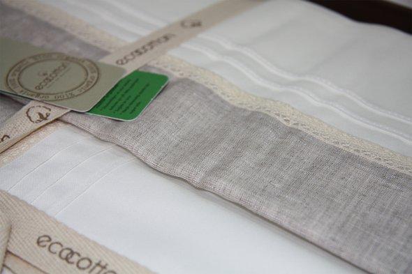 Постельное белье Ecocotton PATARA органический хлопковый сатин делюкс + лён кремовый евро, фото, фотография