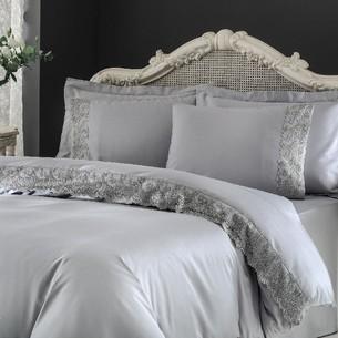 Постельное белье Tivolyo Home REGINA хлопковый сатин делюкс серый семейный