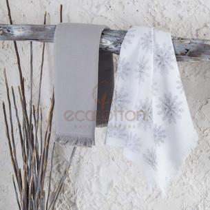 Набор кухонных полотенец 45х65 2 шт. Ecocotton SNOWY органический хлопок белый+серый