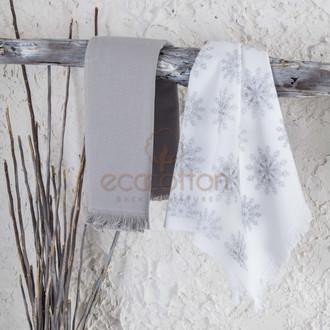 Набор кухонных полотенец 45*65 2 шт. Ecocotton SNOWY органический хлопок белый+серый