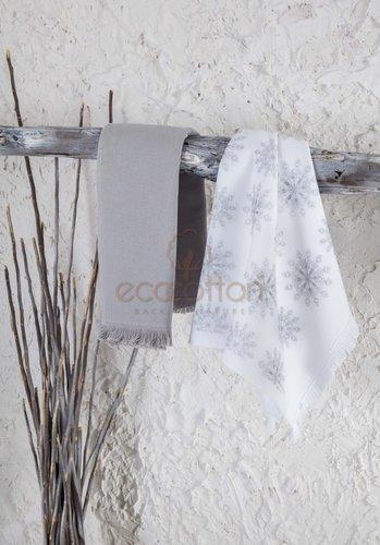 Набор кухонных полотенец 45х65 2 шт. Ecocotton SNOWY органический хлопок белый+серый, фото, фотография