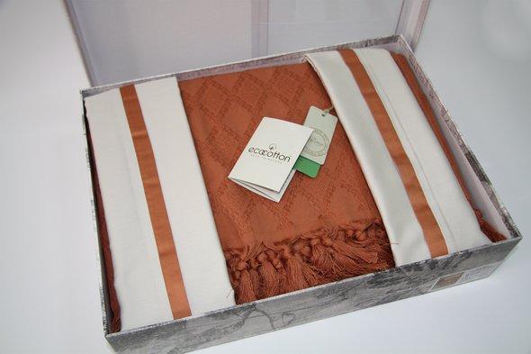 Постельное белье с покрывалом пике для укрывания Ecocotton BALERA органический хлопок (терракотовый) евро, фото, фотография
