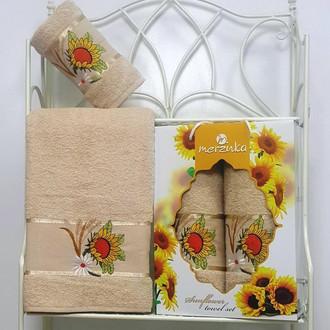 Подарочный набор полотенец для ванной Merzuka SUNFLOWER хлопковая махра V2
