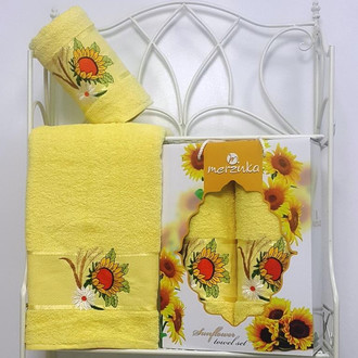 Подарочный набор полотенец для ванной Merzuka SUNFLOWER хлопковая махра (V5)
