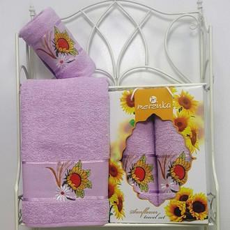 Подарочный набор полотенец для ванной Merzuka SUNFLOWER хлопковая махра (V3)