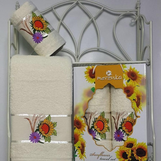 Подарочный набор полотенец для ванной Merzuka SUNFLOWER хлопковая махра (V7)