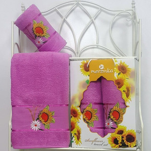 Подарочный набор полотенец для ванной Merzuka SUNFLOWER хлопковая махра V6