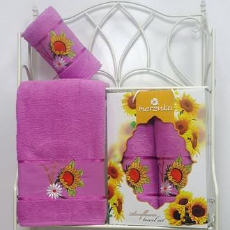 Подарочный набор полотенец для ванной Merzuka SUNFLOWER хлопковая махра (V6)