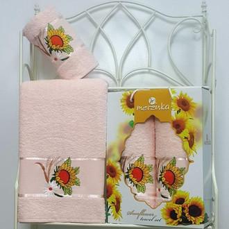 Подарочный набор полотенец для ванной Merzuka SUNFLOWER хлопковая махра (V8)