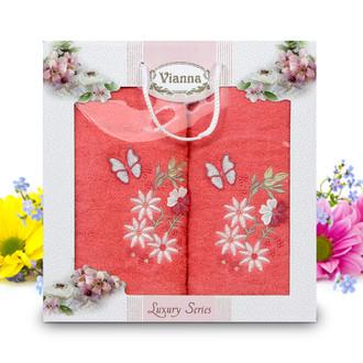 Подарочный набор полотенец для ванной Vianna LUXURY SERIES 8014 хлопковая махра (V11)