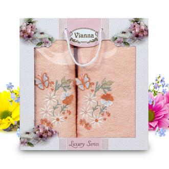 Подарочный набор полотенец для ванной Vianna LUXURY SERIES 8014 хлопковая махра (V8)