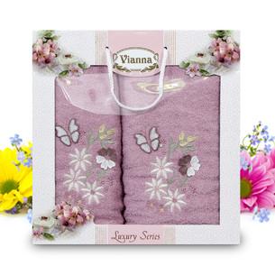 Подарочный набор полотенец для ванной Vianna LUXURY SERIES 8014 хлопковая махра V7