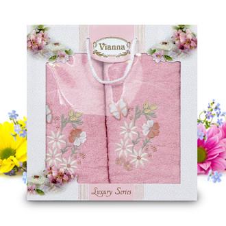 Подарочный набор полотенец для ванной Vianna LUXURY SERIES 8014 хлопковая махра (V6)