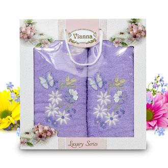 Подарочный набор полотенец для ванной Vianna LUXURY SERIES 8014 хлопковая махра (V4)