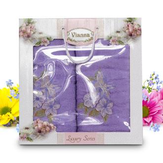 Подарочный набор полотенец для ванной Vianna LUXURY SERIES 8041 хлопковая махра V5