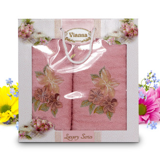 Подарочный набор полотенец для ванной Vianna LUXURY SERIES 8041 хлопковая махра V2