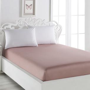 Простынь на резинке Karna LOFT хлопковый сатин грязно-розовый 160х240+30
