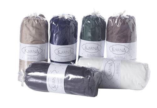 Простынь на резинке Karna LOFT хлопковый сатин кофейный 160х240+30, фото, фотография