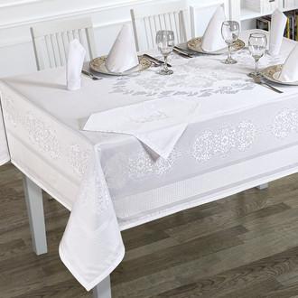 Скатерть прямоугольная с салфетками Karna CARAMEL жаккард белый