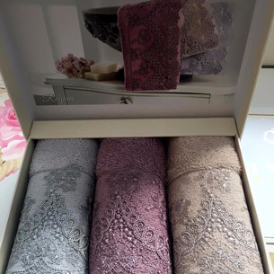 Набор полотенец-салфеток в подарочной упаковке 30х50 3 шт. Tivolyo Home REGINA хлопковая махра ассорти