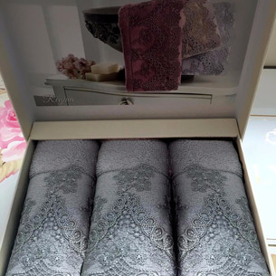 Набор полотенец-салфеток в подарочной упаковке 30х50 3 шт. Tivolyo Home REGINA хлопковая махра серый