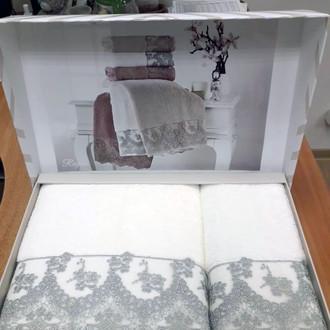 Подарочный набор полотенец для ванной 2 пр. Tivolyo Home REGINA хлопковая махра серый