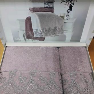 Подарочный набор полотенец для ванной 2 пр. Tivolyo Home REGINA хлопковая махра фиолетовый
