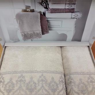 Подарочный набор полотенец для ванной 2 пр. Tivolyo Home LINA хлопковая махра бежевый