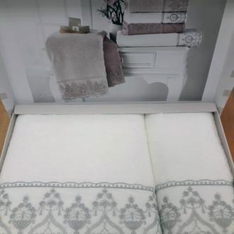 Подарочный набор полотенец для ванной 2 пр. Tivolyo Home LINA хлопковая махра серый