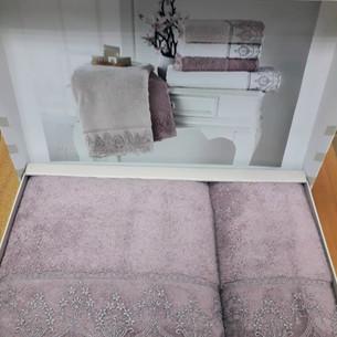 Подарочный набор полотенец для ванной 2 пр. Tivolyo Home LINA хлопковая махра фиолетовый