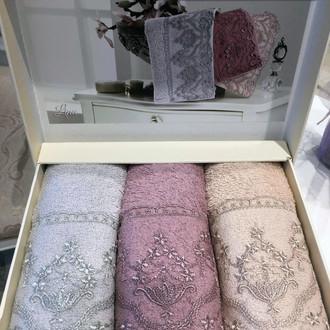 Набор полотенец-салфеток в подарочной упаковке 30х50 3 шт. Tivolyo Home LINA хлопковая махра ассорти