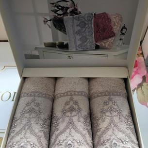 Набор полотенец-салфеток в подарочной упаковке 30х50 3 шт. Tivolyo Home LINA хлопковая махра бежевый