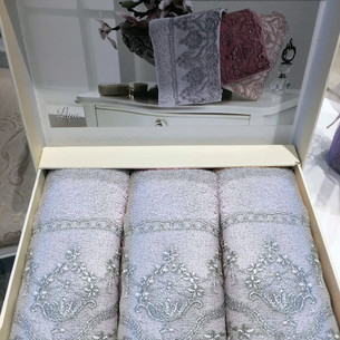 Набор полотенец-салфеток в подарочной упаковке 30х50 3 шт. Tivolyo Home LINA хлопковая махра серый