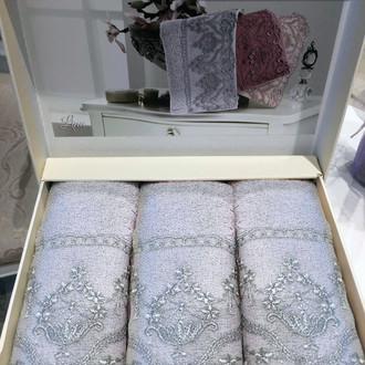 Набор полотенец-салфеток в подарочной упаковке 30*50 3 шт. Tivolyo Home LINA хлопковая махра серый