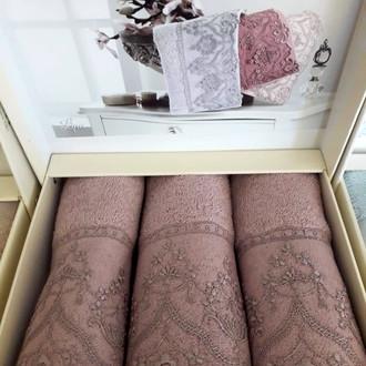 Набор полотенец-салфеток в подарочной упаковке 30*50(3) Tivolyo Home LINA хлопковая махра (фиолетовый)