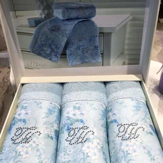 Набор полотенец-салфеток в подарочной упаковке 30*50(3) Tivolyo Home MIRAGE хлопковая махра (синий)