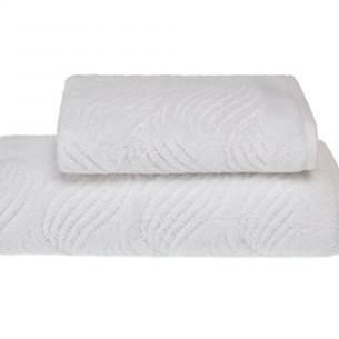 Полотенце для ванной Soft Cotton WAVE хлопковая махра белый 50х100